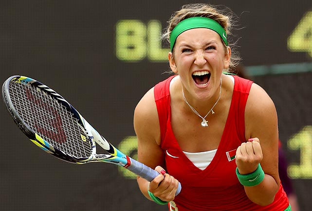 Women's No. 1 Victoria Azarenka is overjoyed for her home country of Belarus after defeating Germany's Angelique Kerber, the world's No. 7, in a narrow quarterfinal win, 6-4, 7-5, on Thursday at the All England Club in London. Azarenka, who lost to American Venus Williams in the third round of the 2008 Games in Beijing, will face younger sister Serena, currently ranked No. 4, next in the semis.