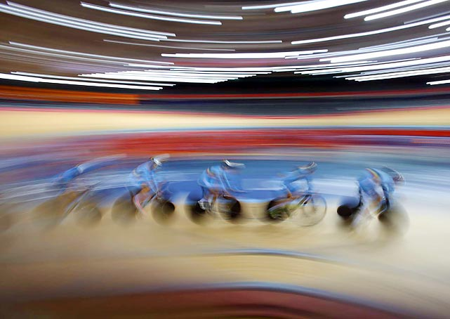 Hours before the opening of track cycling competition, racers from  Belgium took a high-speed test run at the Olympic Velodrome.