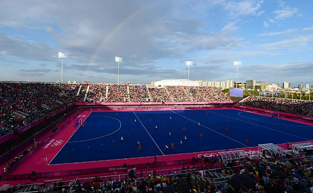 Somewhere under the rainbow, Great Britain's women's field hockey team shut out Belgium 3-0 on the colorful pitch at Riverbank Arena.