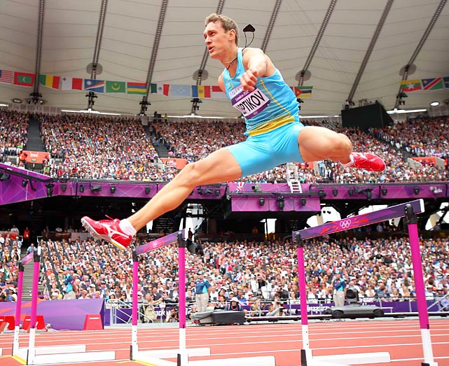 Viktor Leptikov of Kazakhstan caught plenty of air in his heat of the 400-meter hurdles. He couldn't catch the field, however, finishing eighth and last in 51.67 seconds, as two-time Olympic champion Angelo Taylor of the U.S. won in 49.29.