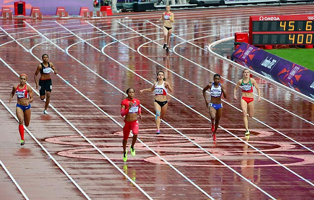 Sanya Richards-Ross of the U.S. left the rest of the field in her wake on the way to winning her heat of the 400 meters. The 2008 bronze medalist in the event, Richards-Ross finished in 51.78.
