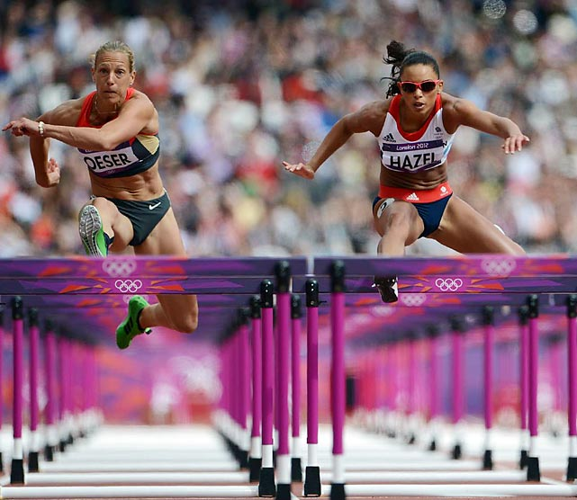 Louise Hazel of Great Britain competes in the 100m hurdles phase of the heptathlon.  She finished with a time of 13.48, putting her in 15th place after the first of seven events.