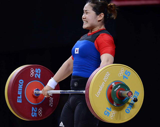 Lim Jihye of South Korea. competing in the women's 75kg Weightlifting final, heaved a total of 223kg in the final round.