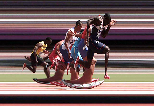 Making his first Olympic appearance since 2000, Britain's Dwain Chambers, who served a ban for doping, pulled away from the field in his 100-meter heat, shot with a finish-line-style strip camera.