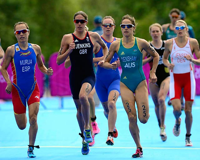 Helen Jenkins of Great Britain paces the field in the running portion of the triathlon on Saturday.