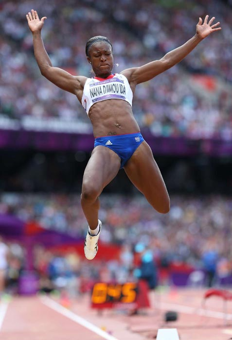 Antoinette Nana Djimou Ida of France heads toward a landing in the long jump portion of the heptathlon competition.
