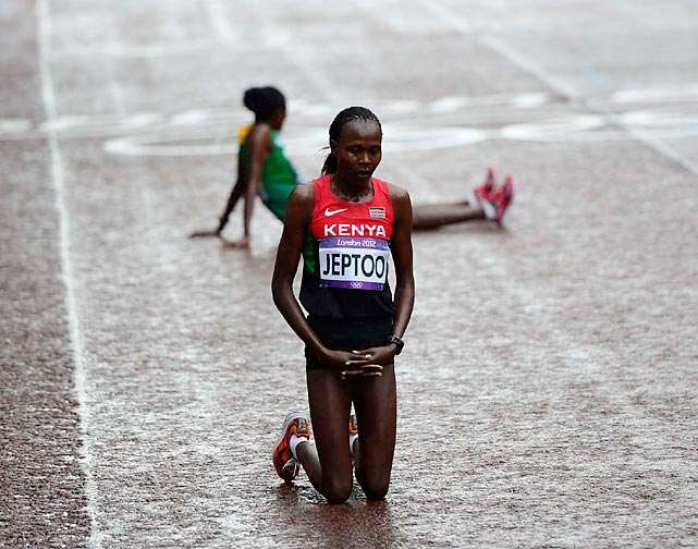 After finishing five seconds behind winner Tiki Gelana of Ethiopia in the hard-fought women's marathon, silver medalist Priscah Jeptoo of Kenya paused.