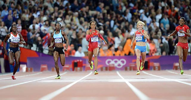 The U.S.'s Sanya Richards-Ross (center) raced to victory in the women's 400 meters in 49.55 seconds, holding off runnerupChristine Ohuruogu of Great Britain (second from left).