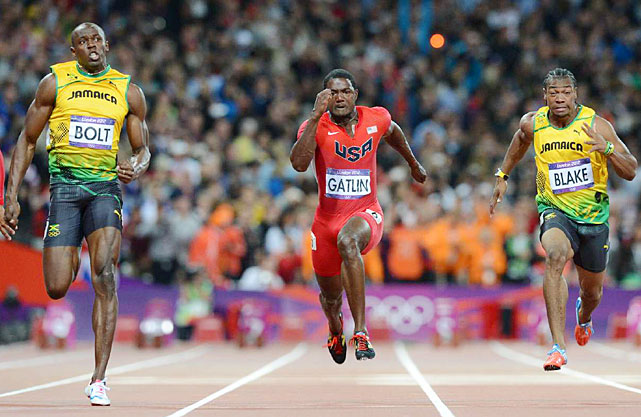 Usain Bolt and fellow Jamaican Yohan Blake finished 1-2 in the 100-meter dash while Justin Gatlin of the U.S. earned the bronze medal.