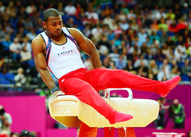 John Orozco hit the pommel horse during the men's team finals in gymnastics, posting a lowly 12.733.
