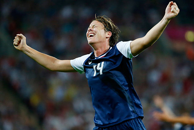 Abby Wambach celebrates the goal by Carli Lloyd that gave the U.S. a brief 2-0 lead.