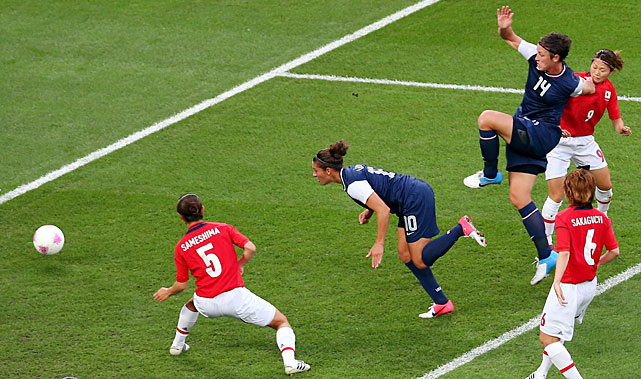 Carli Lloyd heads in a goal in the eighth minute to put the United States up 1-0 in their 2-1 victory over Japan