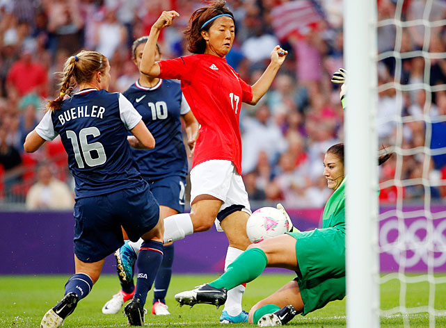 Hope Solo got a lot of help from her teammates in holding Japan scoreless in the first half.