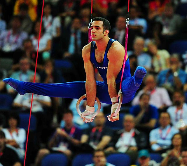 With one rotation remaining, American gymnast Dannell Leyva was sixth in pursuit of the Olympic all-around individual title. He rallied to earn the bronze medal in the men's event.