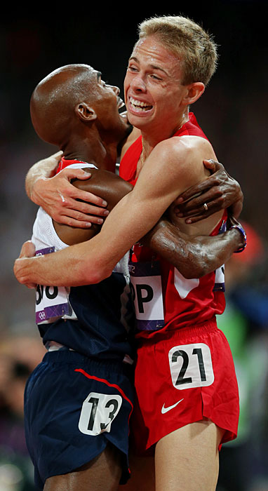 Training teammates in Oregon before the Olympics, Mo Farah of Great Britain (left) and Galen Rupp of the U.S. rejoice after finishing first and second in the 10,000-meter run. Rupp's silver was the first medal by the U.S. in the event since 1964.
