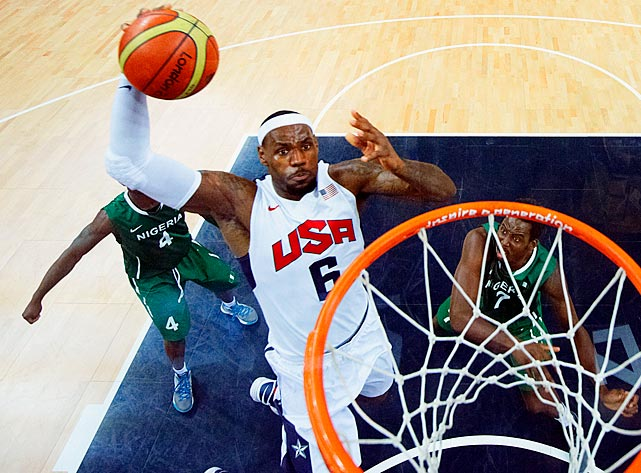 USA Basketball managing director Jerry Colangelo said he hopes the distinction of being team USA's first four-time Olympian will be enough of a carrot to lure James back one more time. (Rio would be four Olympics for Carmelo Anthony, too.) The three-time NBA MVP was a force in London, getting to the rim with ease when the Americans needed a basket and averaging 13.3 points, 5.6 rebounds and 5.6 assists, including the first triple-double by a U.S. player in the Olympics. James also emerged as a vocal leader, adding to his value.