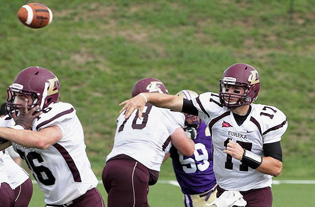 Division III Eureka (Illinois) College QB Sam Durley broke the NCAA record with 736 passing yards. Eureka!