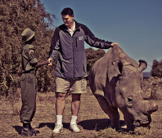 Yao meets some new friends while in Africa.