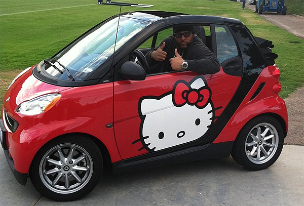 "It's not everyday you see a 6-foot-4, 320-pound man driving a tiny smart car with the Hello Kitty logo on it, but that was the case when Antonio Garay drove this to practice last September. The Chargers nose tackle tweeted, ""Yo @TakeoSpikes51 I wish I had 4 hands 2 give the Hello Kitty drop top Smart car 4 thumbs UP but 2 will do."""