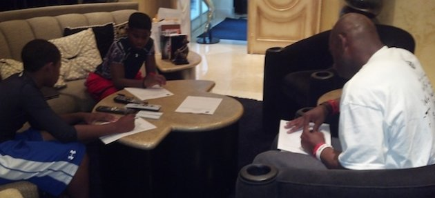 Deion Sanders went through a particularly contentious divorce earlier this year. After claiming his wife and a friend attacked him -- his wife denied the claim -- he tweeted this photo of him and his children filing police reports.