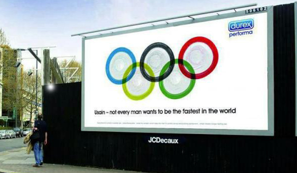 This condom ad, spotted in London during the Olympics last month, no doubt made Usain Bolt smile.