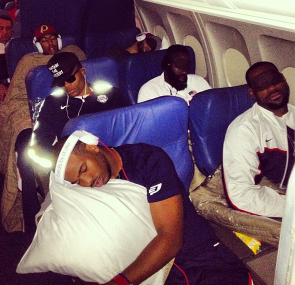In one of the most memorable Twitpics of 2012, Kevin Love captures his U.S. Olympic teammates sleeping on the plane to London.