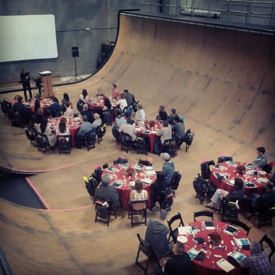 When you're skateboard legend Tony Hawk, you hold your business meetings at the bottom of a half-pipe.