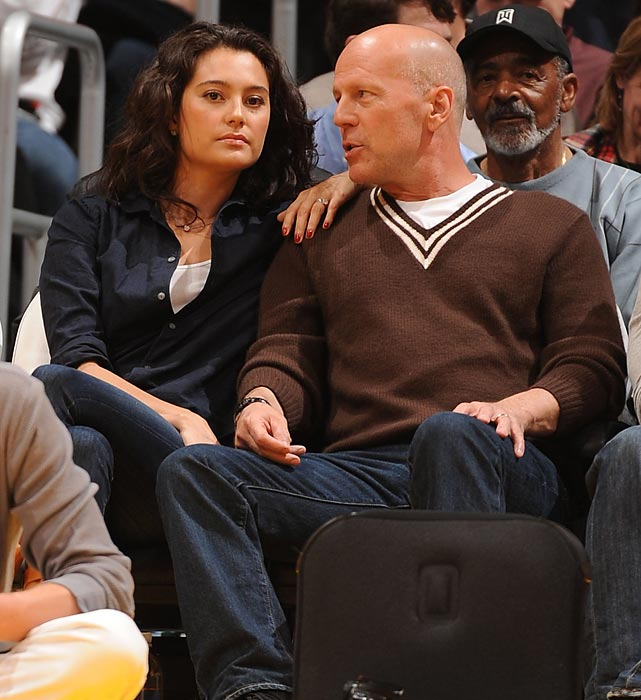 Bruce Willis and wife Emma Heming watch the Portland Trail Blazers and the Los Angeles Lakers at Staples Center.