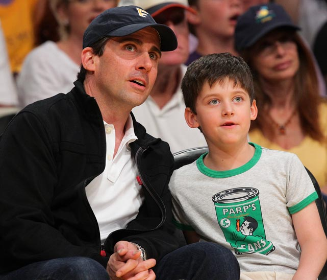 Steve and John Carell at a Lakers game at Staples Center.