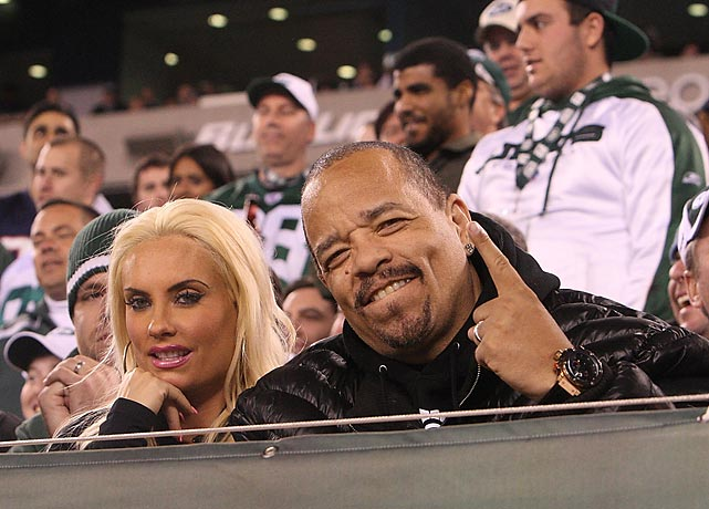 Ice-T and his wife, Coco, at a New England Patriots-New York Jets game at the MetLife Stadium.