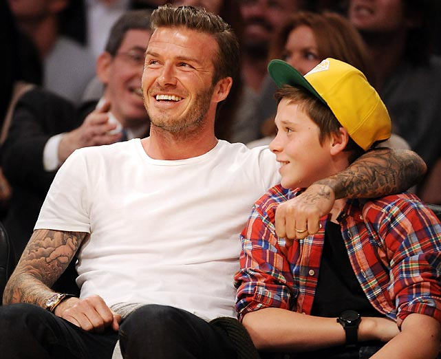 David and Brooklyn Beckham at a Miami Heat-Lakers game in Los Angeles.