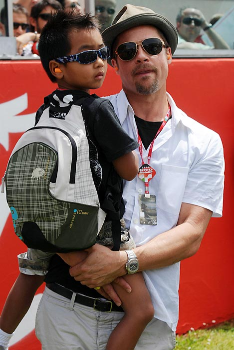 Brad and Maddox Pitt at the Italian Grand Prix.