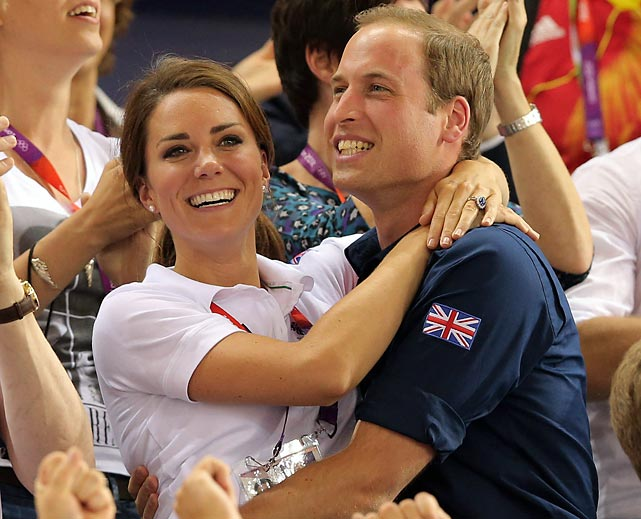 Prince William and Kate, Duke and Duchess of Cambridge, during Day 6 of the London 2012 Olympic Games.