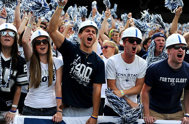 Fans cheer as Penn State takes on Ohio.