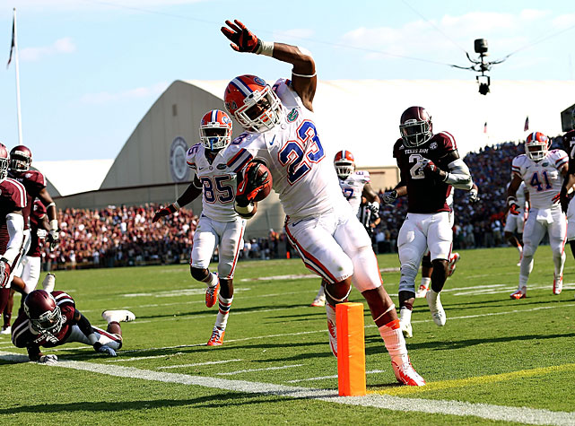 The Texas A&M crowd was rocking for its SEC debut, but Florida emerged victorious during the teams' Week 2 matchup. Trailing 17-10 at the half, the Gators scored 10 unanswered second-half points to earn the win. Quarterback Jeff Driskel completed 13-of-16 passes for 162 yards, and running back Mike Gillislee (pictured) rumbled for 83 yards and two touchdowns.