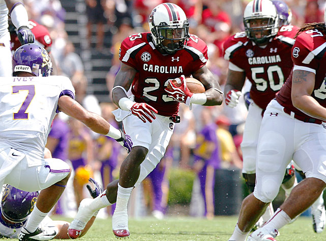 No Connor Shaw, no problem for South Carolina. Sophomore quarterback Dylan Thompson took control under center to lead the Gamecocks to a 48-10 victory over East Carolina. Thompson completed 21-of-37 passes for 330 yards and three touchdowns, and star running back Marcus Lattimore added 13 carries for 40 rushing yards and a score. Rory Anderson and Bruce Ellington (pictured) both hauled in four receptions for South Carolina, Anderson for 90 yards and two touchdowns and Ellington for 63 yards.