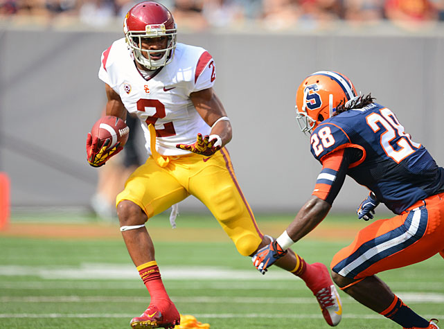 The Trojans took a while to pull away, but used a 21-point fourth quarter to defeat Syracuse 42-29. Matt Barkley tossed for 187 yards and six touchdowns, and Silas Redd carried the ball 15 times for 107 yards. USC's big-name receivers also rose to the occasion. Marqise Lee made 11 catches for 66 yards and three touchdowns, while Robert Woods (pictured) made 10 grabs for 93 yards and two scores.
