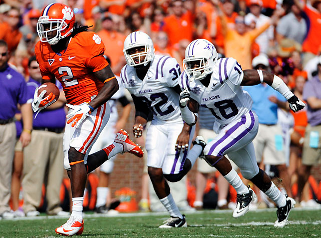 Sophomore Sammy Watkins (pictured) returned from a two-game suspension, and the dynamic wideout didn't disappoint. Watkins totaled 110-all purpose yards, including a 58-yard touchdown run early in the second quarter. Clemson's other standouts also shined against Furman. Tajh Boyd threw for 263 yards and two touchdowns, and DeAndre Hopkins made seven catches for 92 receiving yards.