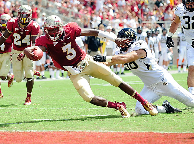 Florida State started early and never let up against Wake Forest, rolling to a 52-0 victory in Week 3. Chris Thompson inflicted the majority of the damage. The 5-8, 187-pound senior gashed the Demon Deacons for a whopping 197 rushing yards and two touchdowns, and quarterback E.J. Manuel (pictured) accounted for 224 all-purpose yards and three scores. The Seminoles avenged their loss to Wake Forest in 2011.
