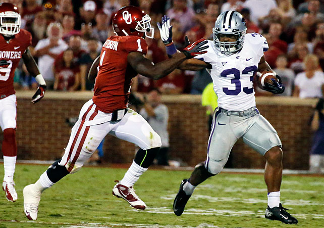 Entering the game, Oklahoma was 13-0 in home conference openers under Bob Stoops. Now the Sooners are 13-1. Kansas State upset Oklahoma in Norman behind strong performances from Collin Klein, who collected 228 total yards and a touchdown, John Hubert (pictured), who rushed for 130 yards and a score, and defensive back Ty Zimmerman, who made an interception and recovered a fumble. The Wildcats improved to 4-0 for the third consecutive season.