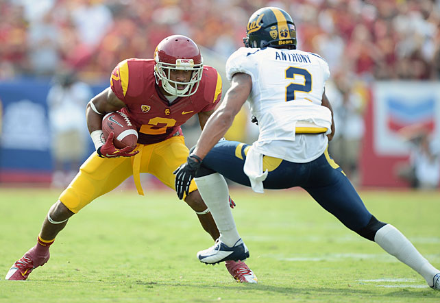 USC didn't appear to feel any carryover effect from last week's loss to Stanford. Matt Barkley threw for 193 yards and two touchdowns, Silas Redd rushed for 157 yards and a score and Marqise Lee and Robert Woods (pictured) combined for 125 yards and two touchdowns in the Trojans' win over Cal. The defense also stepped up. T.J. McDonald and Jawanza Starling both reeled in interceptions.