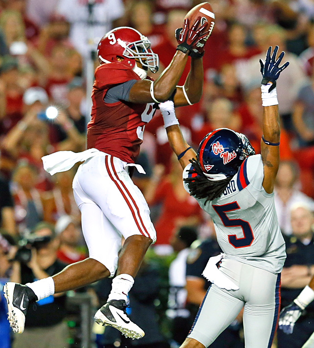 Alabama actually trailed for a change, a predicament that lasted a grand total of 15 seconds. Amari Cooper (left) caught two touchdown passes -- including this one over Frank Crawford  -- and Christion Jones returned a kickoff 99 yards for another score to power the Crimson Tide. Alabama (5-0 overall, 2-0 in the Southeastern Conference) trailed briefly, 7-6, for the first time in regulation since last year's Tennessee game, a span of about 10 games.