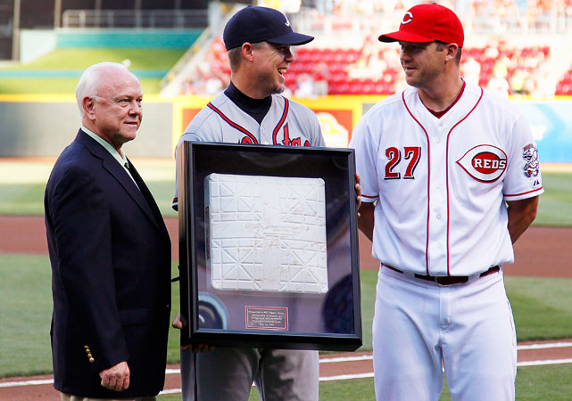 "Reds general manager Walt Jocketty and third baseman Scott Rolen presented a third base bag to Chipper. All three bases had ""Celebrating the Career of #10 Chipper Jones"" placed on the sides. One of which Chipper will keep, with the Reds and Braves organizations keeping one in their own Halls of Fame."