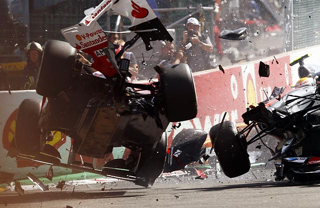 A violent crash breaks up a car at the 2012 Grand Prix of Belgium, a part of the FIA Formula One World Championship.