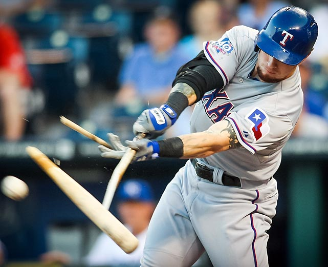 Josh Hamilton shatters his bat during in the Texas Rangers' game against the Kansas City Royals. The Rangers won 5-4 in 10 innings.