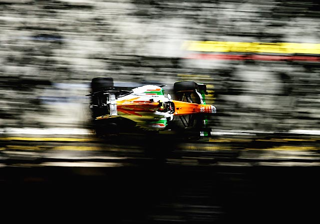 Nico Hulkenberg of Germany and Force India practices for the Singapore Formula One Grand Prix at the Marina Bay Street Circuit in Singapore.