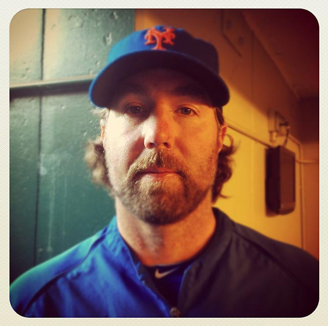 Mets pitcher R. A. Dickey poses before Wednesday night's game against the Nationals in New York.