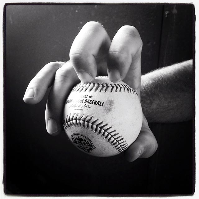 R. A. Dickey shows off his knuckleball grip.