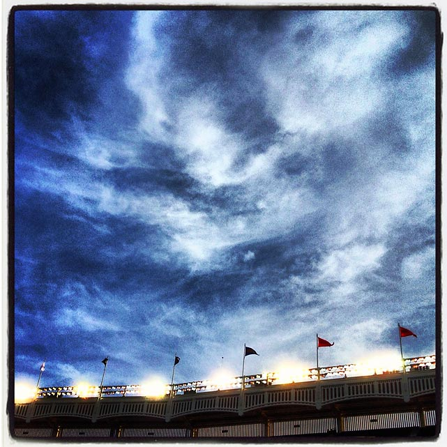 The sky over Yankee Stadium.