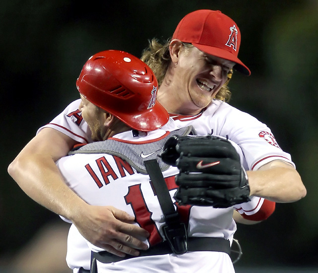 Jered Weaver pitched the 10th no-hitter in franchise history, striking out nine in a 9-0 victory over the Twins, who never came close to getting a hit. Weaver allowed just two baserunners. Chris Parmelee reached in the second inning when he struck out and advanced on Chris Iannetta's passed ball, and Josh Willingham worked a walk in the seventh. Weaver became the first Angels pitcher to throw a no-hitter in Angel Stadium since Nolan Ryan on June 1, 1975.